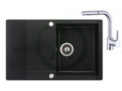 Set Teka LIVO 45 B TQ granitový dřez černý + baterie ARES B 938