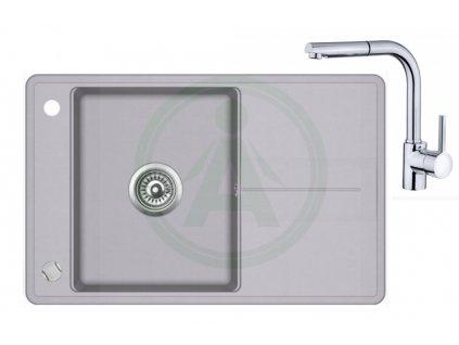 Set Teka STELA 50 B TQ granitový dřez šedý + baterie ARES B 938