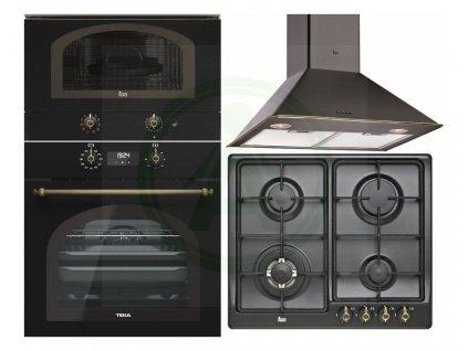 Teka HRB 6400 černá rustikální trouba + retro mikrovlnná trouba MWR 22 BI + EH60 4G plyn + DOS 60.1 odsavač
