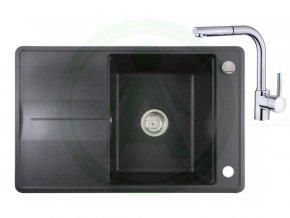 Set Teka STELA 50 B TQ granitový dřez černý + baterie ARES B 938