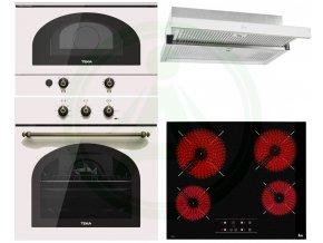 Teka HRB 6100 smetanová rustikální trouba + retro mikrovlnná trouba MWR 22 BI + deska TT 6415 + CNL 6415 bílá