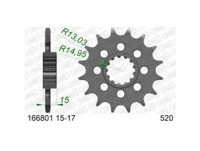 AFAM 166801-17 řetězové kolečko přední