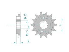 AFAM 20507-15 řetězové kolečko přední