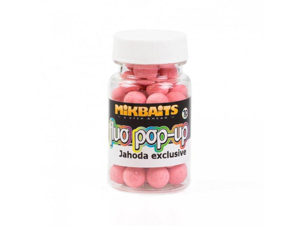 MIKBAITS Mini Plovoucí fluo boilie 10mm Jahoda exclusive