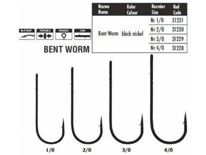 TRAPER Bushido Bent Worm - černý nikl