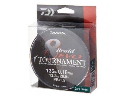 Daiwa Tournament 8 Braid Evo -tmavě zelená - 135 m. 0,18 mm