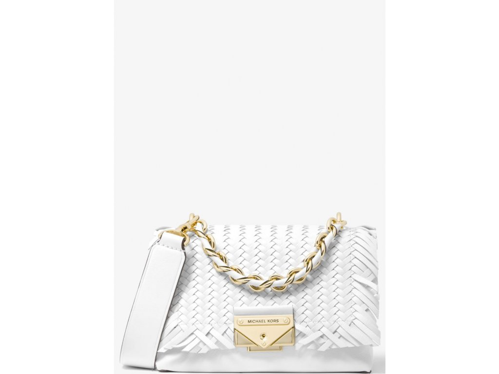 Michael Kors Cece Extra Small Woven Leather Crossbody Optic White