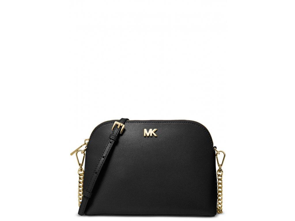 Michael Kors Crossgrain Leather Dome Crossbody Black Gold