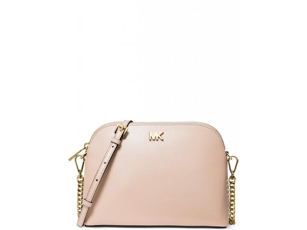 Michael Kors Crossgrain Leather Dome Crossbody Soft Pink Gold