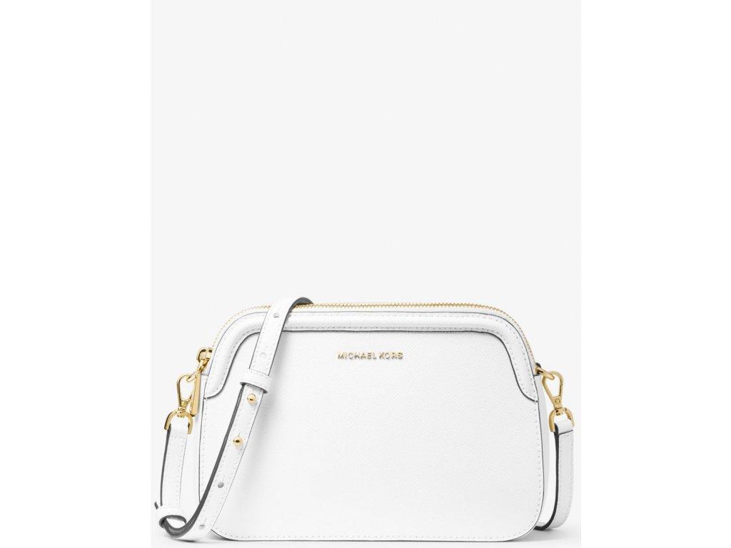 Houston Large Crossgrain Leather Crossbody Bag Optic White