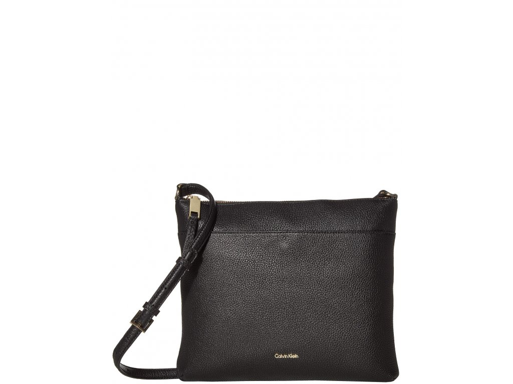 Calvin Klein Lily Key Item Pebble Leather Large Crossbody Black
