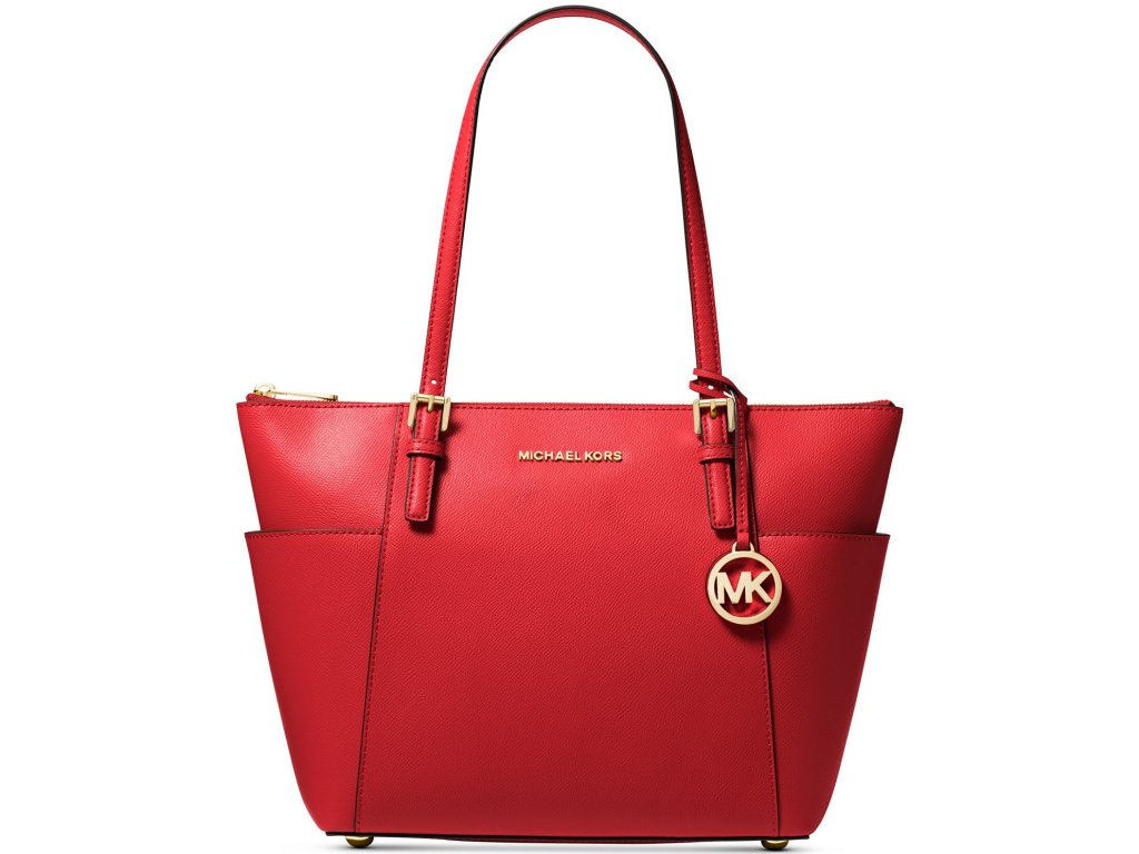 Jet Set Large Crossgrain Leather Tote Bright Red
