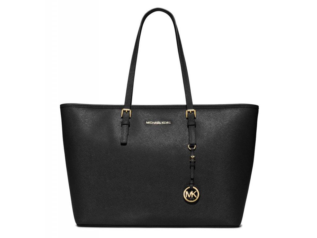 299 michael kors kabelka jet set travel medium saffiano leather top zip tote black