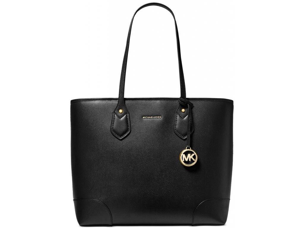Michael Kors Large Crossgrain Leather Tote Bag Black