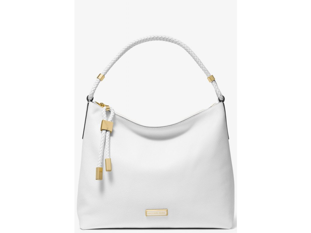 Lexington Large Pebbled Leather Shoulder Bag Optic White