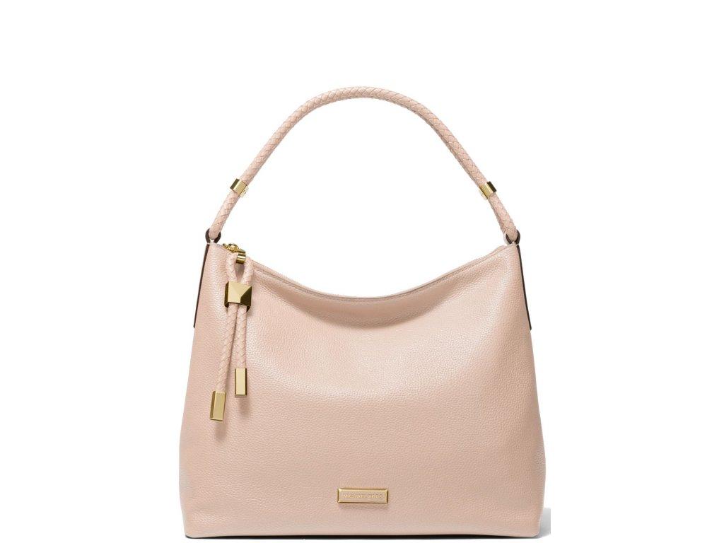 Lexington Large Pebbled Leather Shoulder Bag Soft Pink
