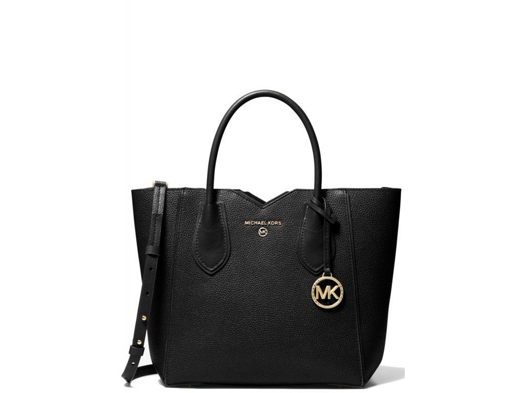 Michael Kors Mae Medium Pebbled Leather Messenger Bag Black