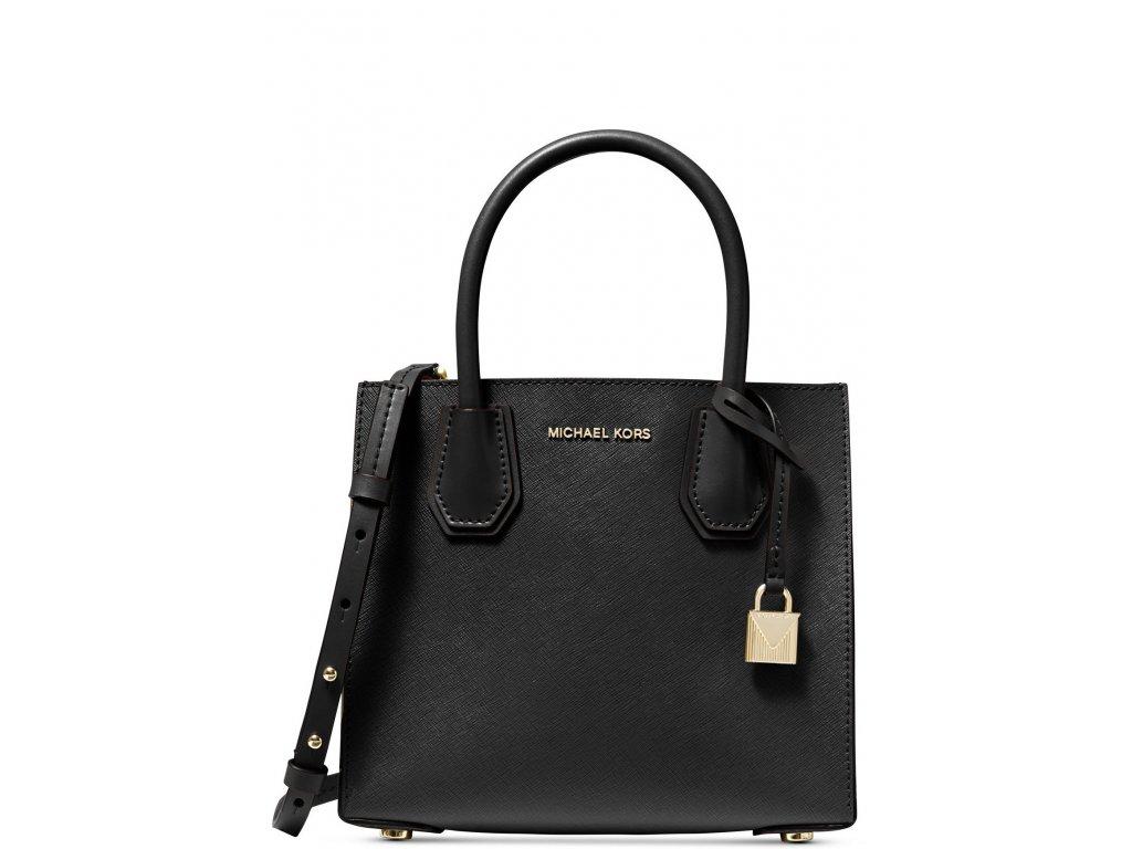 Michael Kors Mercer Medium Saffiano Leather Accordion Crossbody Bag Black