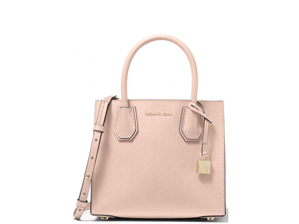 Michael Kors Mercer Medium Saffiano Leather Accordion Crossbody Bag Soft Pink
