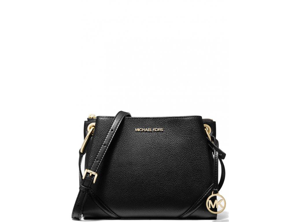 Michael Kors Nicole Large Pebbled Leather Crossbody Bag Black