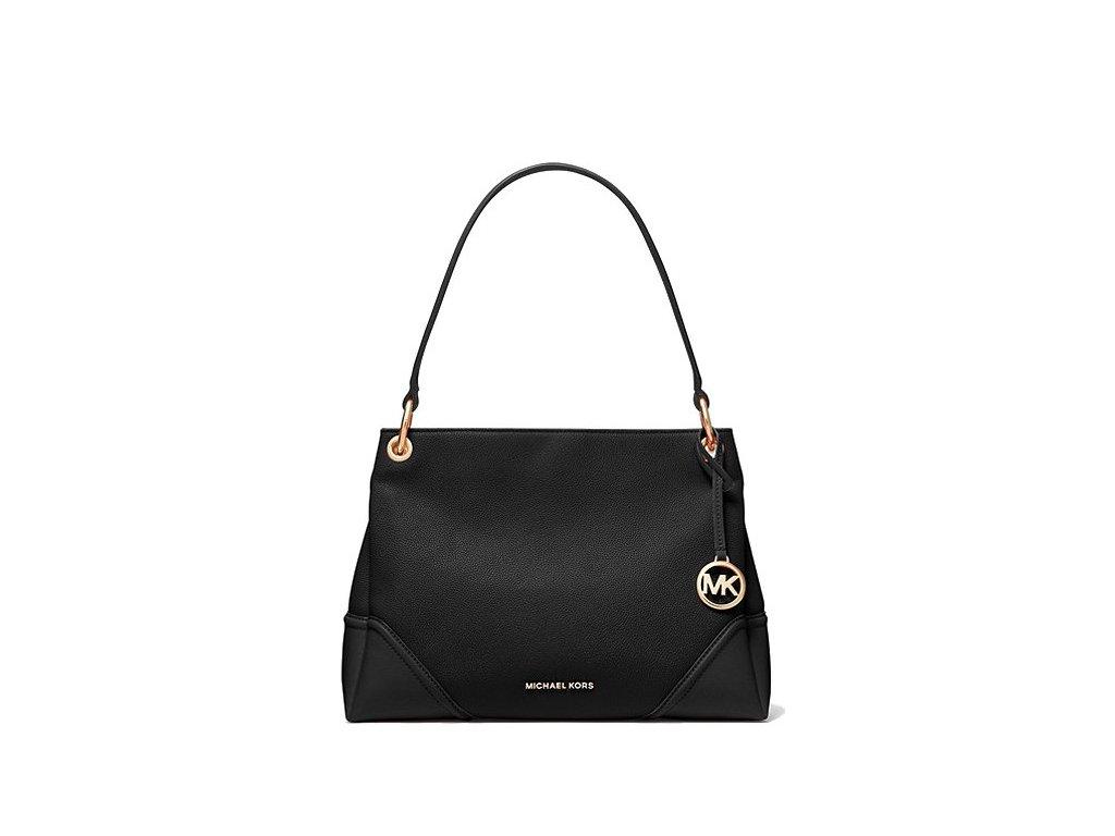 Michael Kors Nicole Medium Shoulder Tote Bag Black Gold