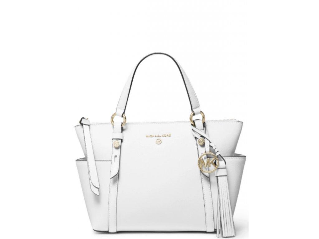 Michael Kors Sullivan Small Convertible Top Zip Leather Tote Optic White