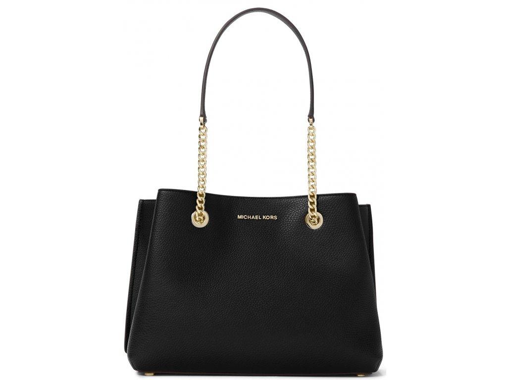 Teagan Large Pebbled Leather Shoulder Bag Black Gold