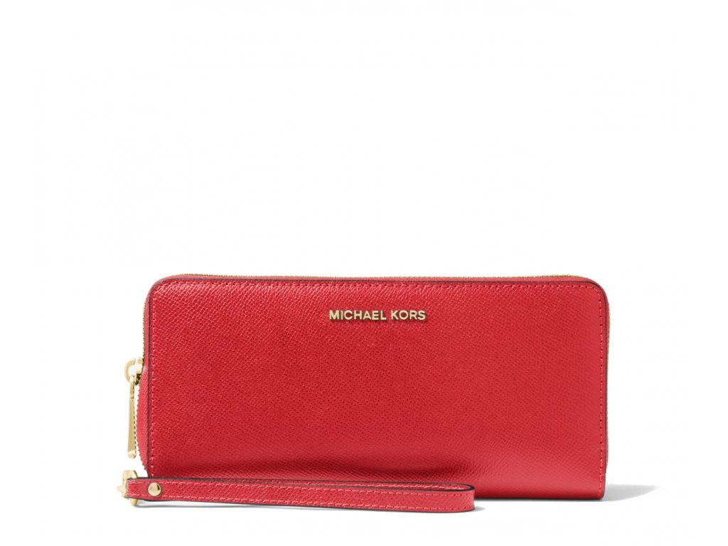 Leather Continental Wristlet Bright Red