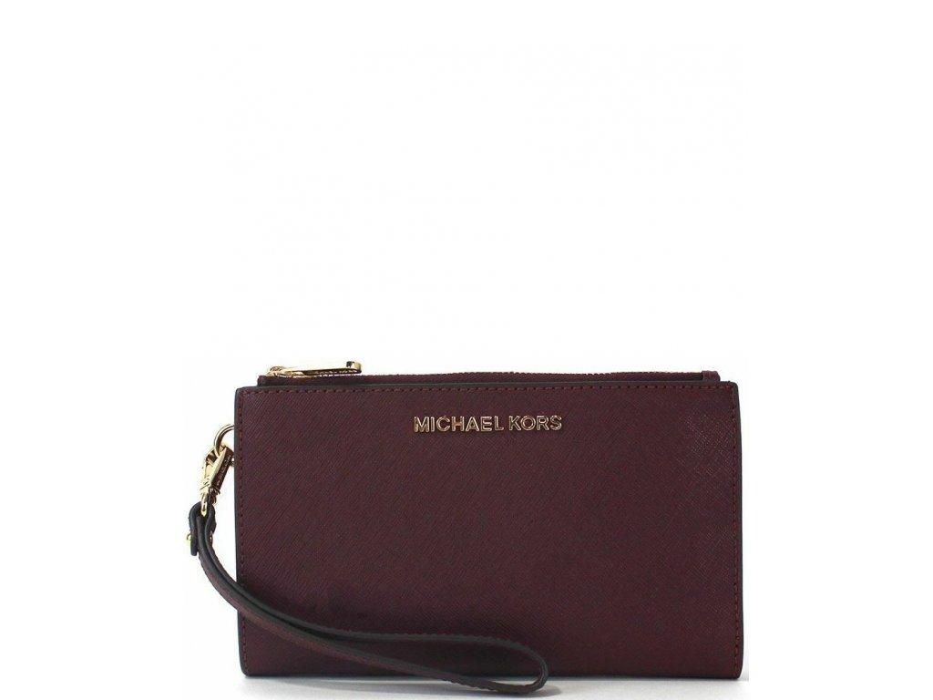 Michael Kors Jet Set Double Zip Phone Wallet Wristlet Merlotaa2