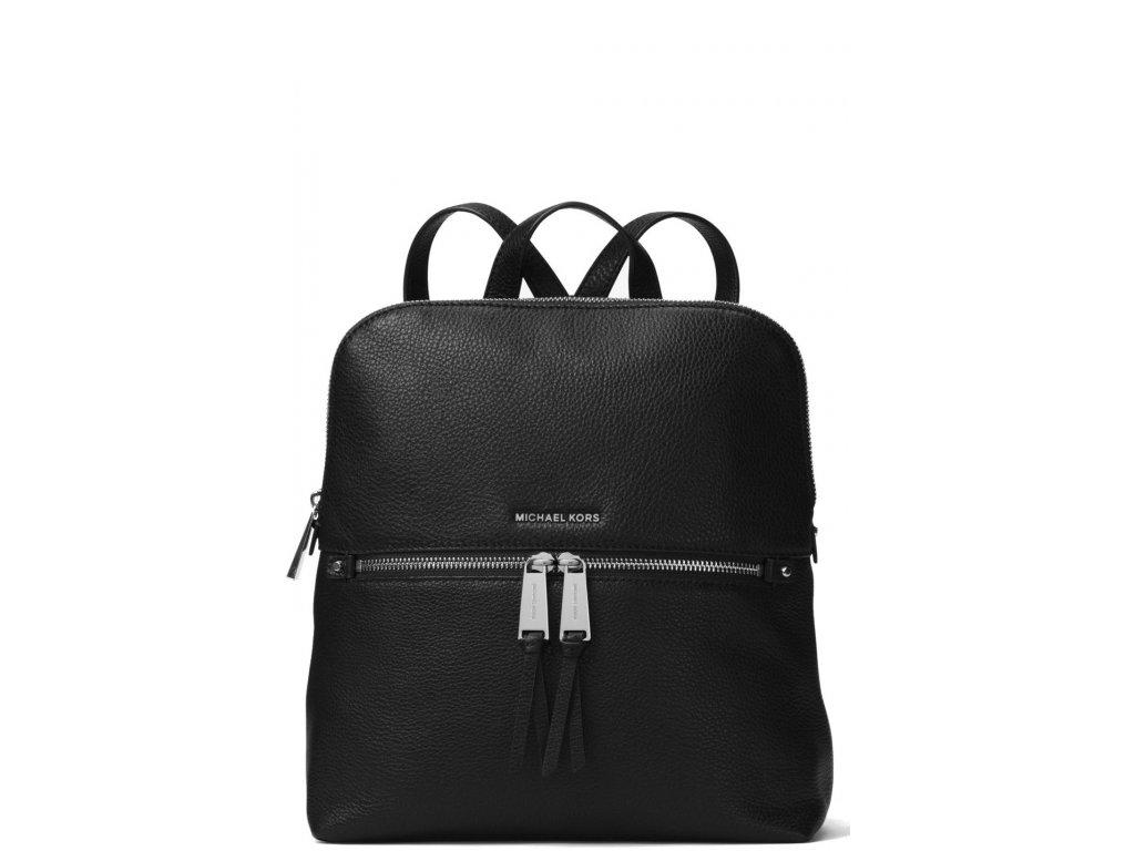 Michael Kors Rhea Medium Slim Leather Backpack Blackabc