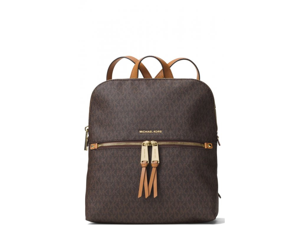 Michael Kors Rhea Medium Slim Logo Backpack Brown