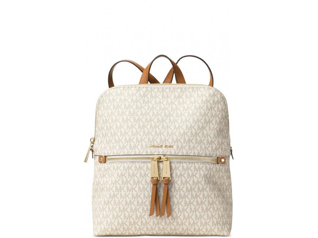 Michael Kors Signature Rhea Medium Slim Backpack Vanilla Gold