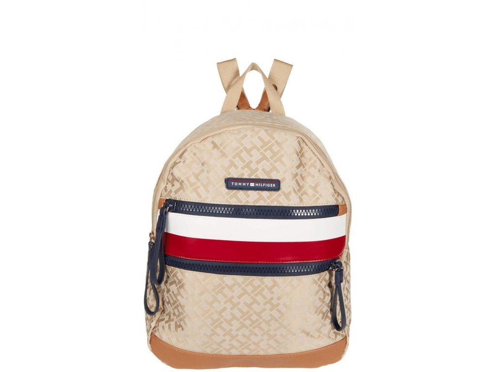 Tommy Hilfiger Drea II Medium Backpack Geometric Jacquard Khaki Tonal