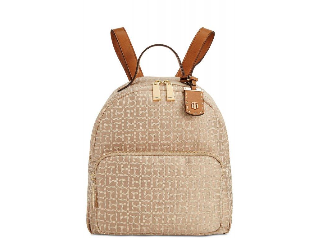 Tommy Hilfiger Julia Logo Jacquard Dome Backpack Khaki Gold