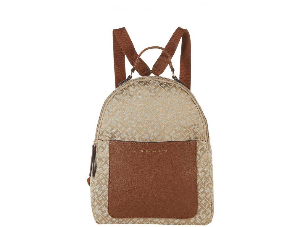 Tommy Hilfiger Linda II Medium Backpack Geometric Jacquard Khaki Tonal Cognac
