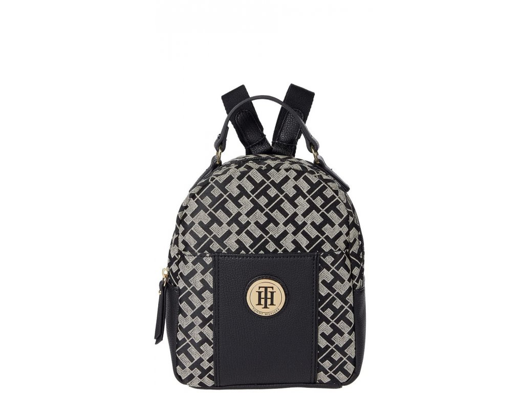 Tommy Hilfiger Roxy II Mini Backpack Geometric Jacquard Black Alapaca