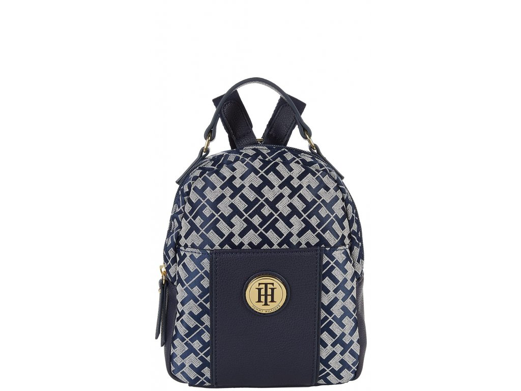 Tommy Hilfiger Roxy II Mini Backpack Geometric Jacquard Navy White