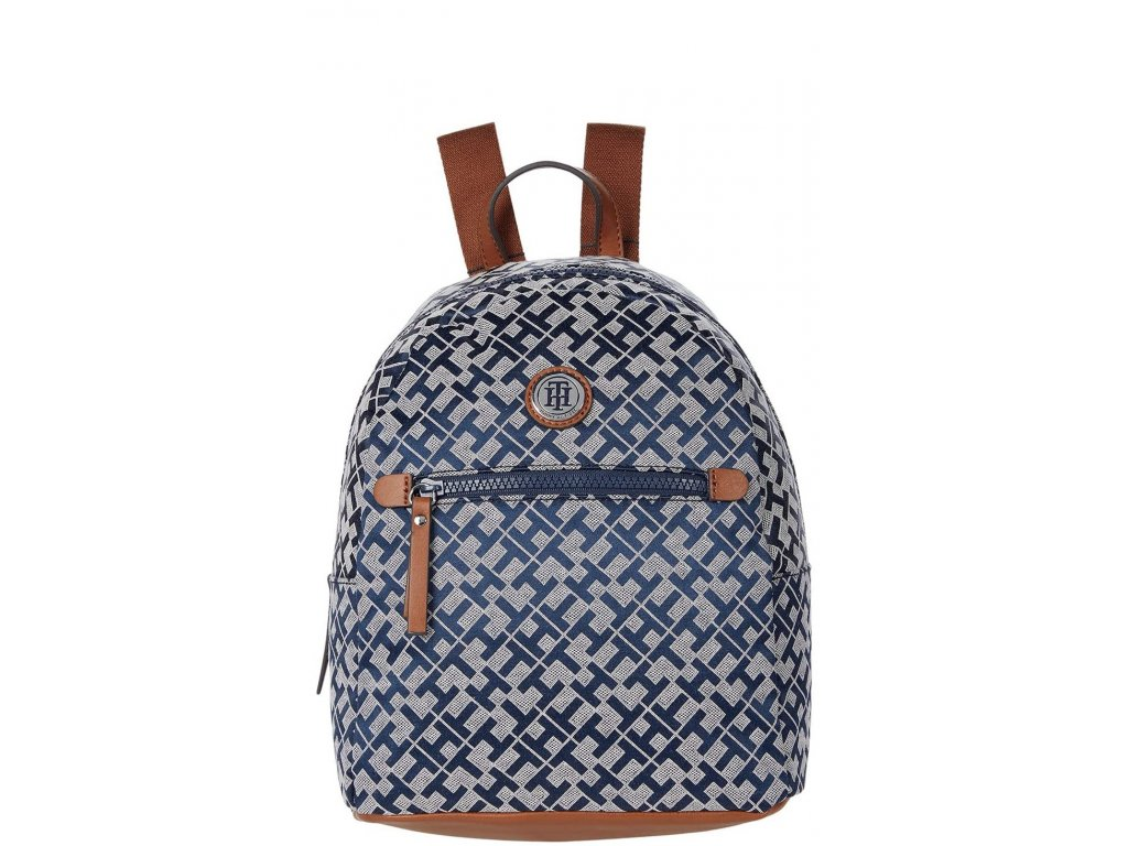 Tommy Hilfiger Willow II Backpack Geometric Jacquard Colored Trim Navy White Cognac