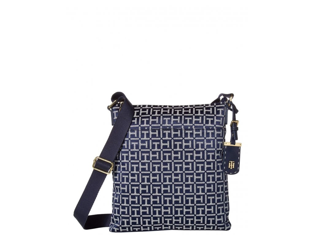 Tommy Hilfiger Julianne 1.5 North South Crossbody Square Messenger Jacquard Navy White