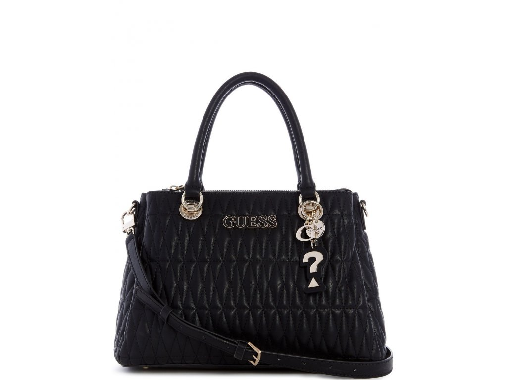 Guess Brinkley Triple Compartment Satchel Black Gold