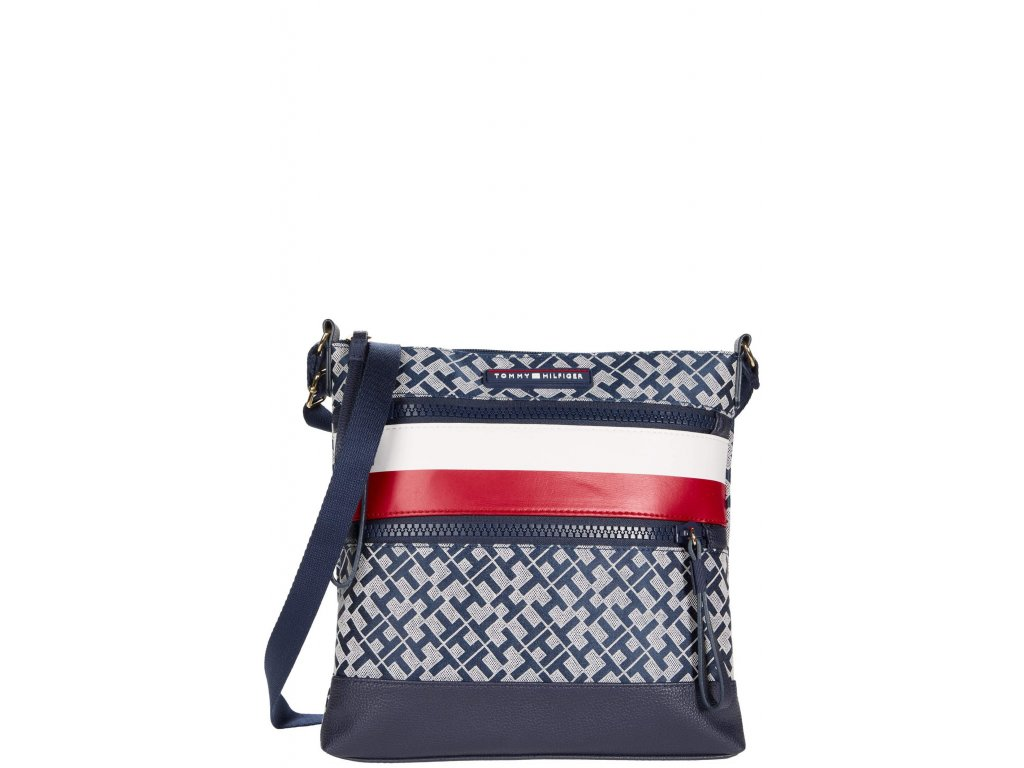 Tommy Hilfiger Drea II Large North South Crossbody Navy White