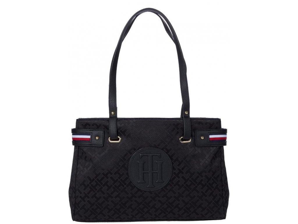 2599 tommy hilfiger kabelka izzy ii shopper geometric jacquard black tonal