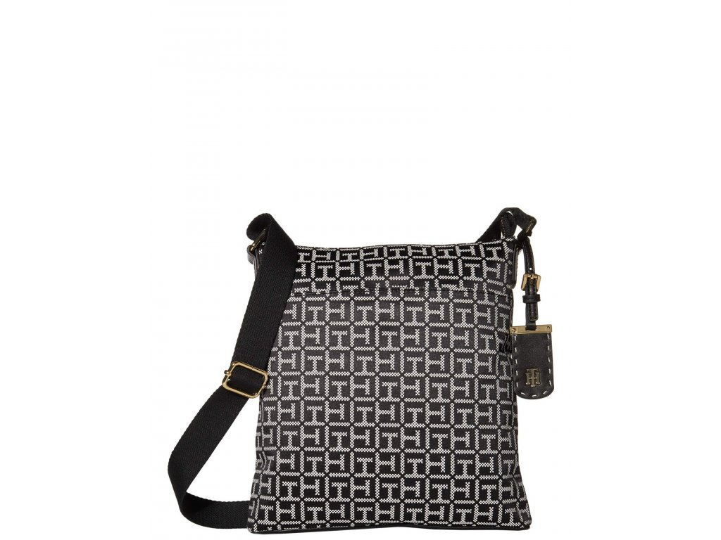 Tommy Hilfiger Julianne 1.5 North South Crossbody Square Messenger Jacquard Black and White