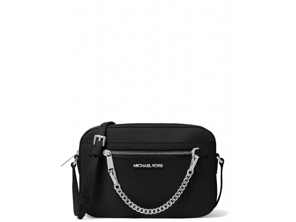 Michael Kors Jet Set Large Saffiano Leather Crossbody Bag Black Silvera
