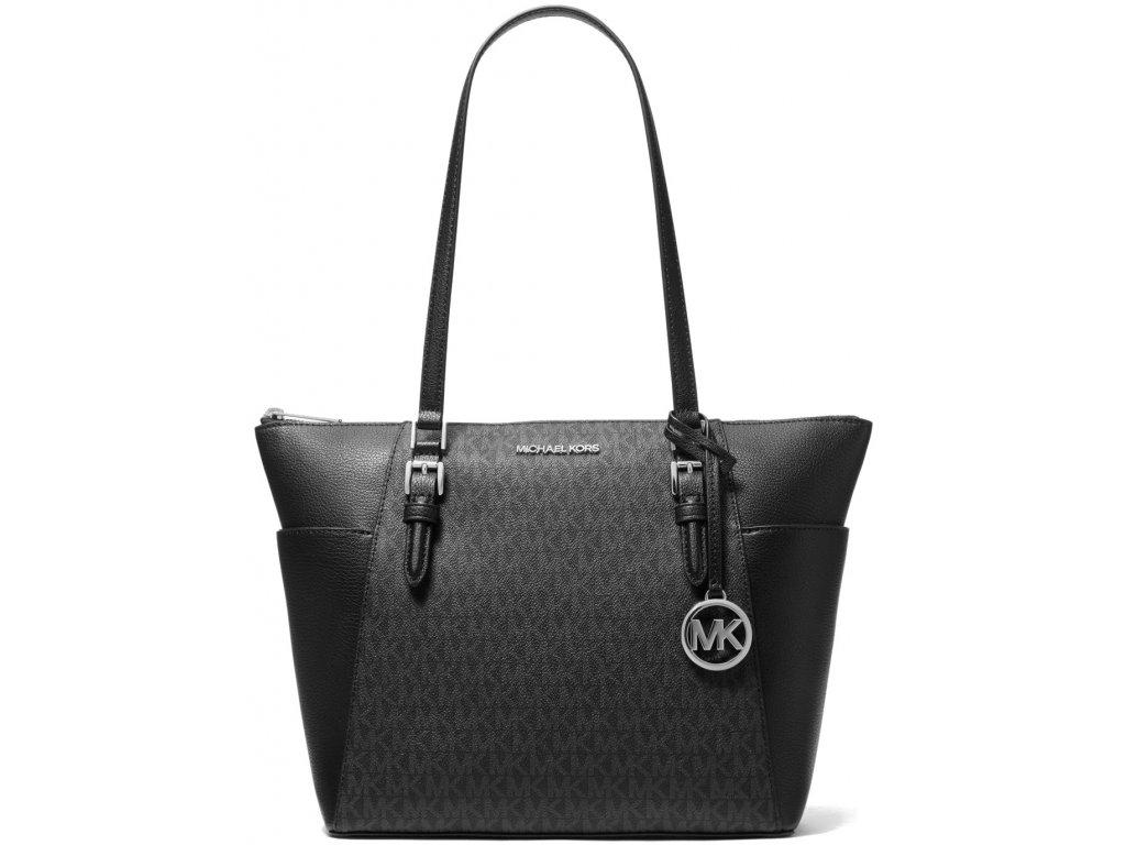 Michael Kors Charlotte Large Logo and Leather Top Zip Tote Bag Black