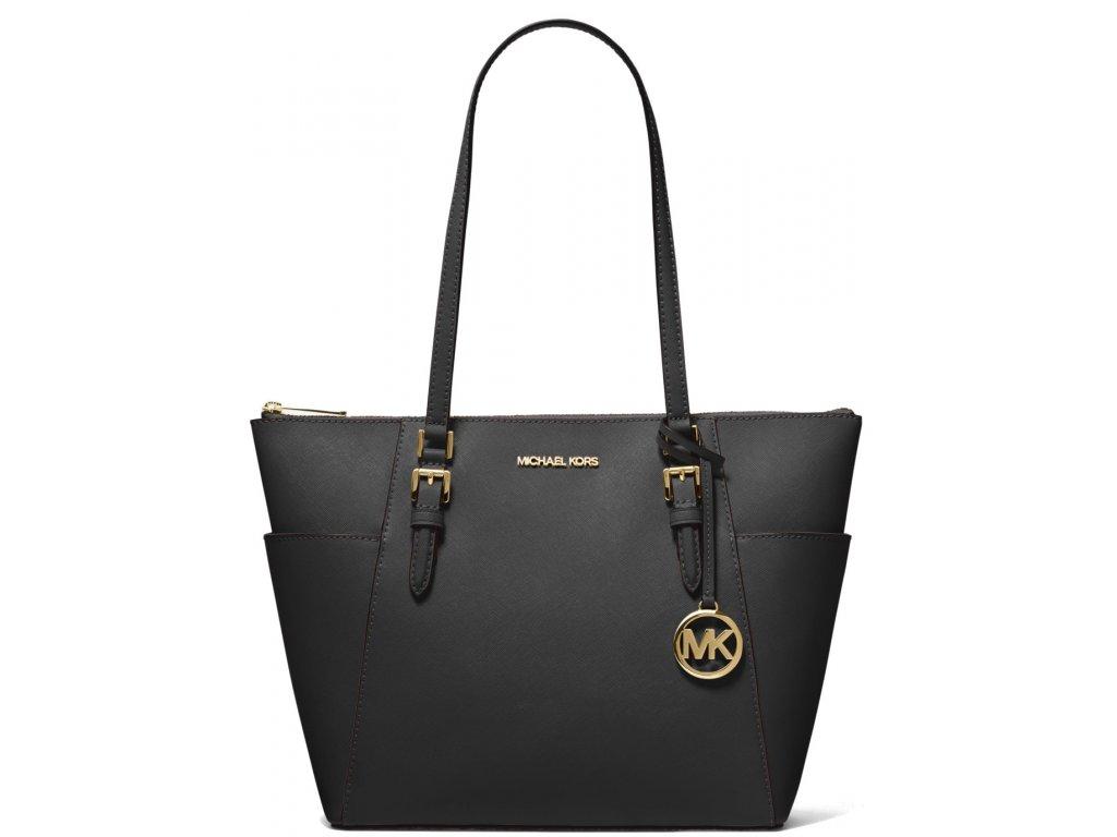 Michael Kors Charlotte Large Saffiano Leather Top Zip Tote Bag Black