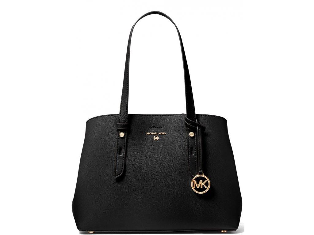 Michael Kors Mel Medium Saffiano Leather Tote Bag Black