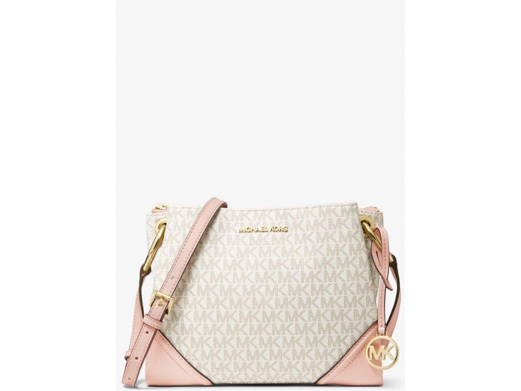 Michael Kors Nicole Large Logo Crossbody Bag Powder Blush MLTfront
