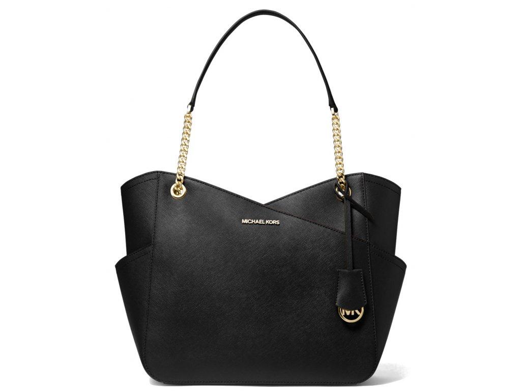 Michael Kors Jet Set Large Saffiano Leather Shoulder Bag Blacka