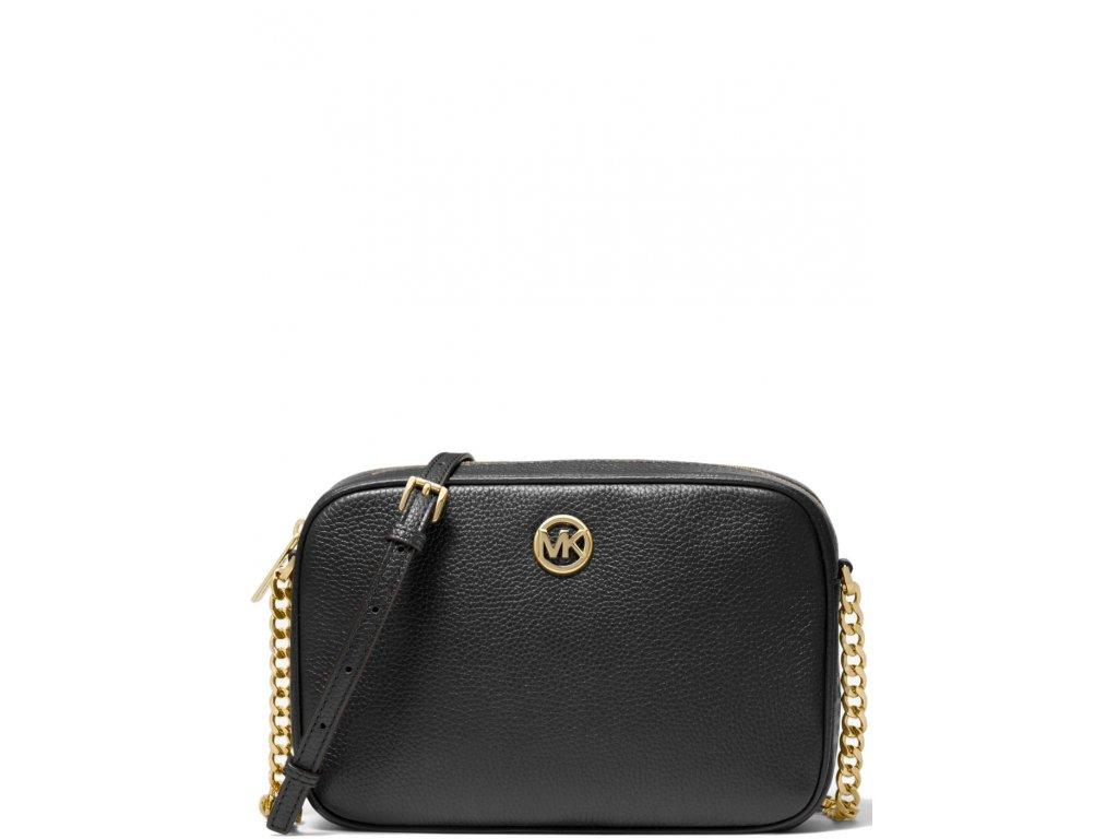 Michael Kors Fulton Large Pebbled Leather Crossbody Bag Black Gold